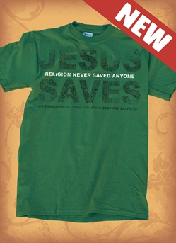 Red Letter 9 Jesus Saves T-Shirt. Adult Medium. Save 75%.